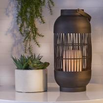 Cylinder Basket LED Lantern with Flameless Candle