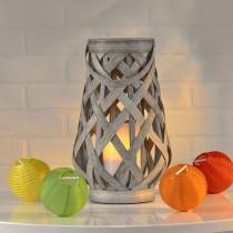 """Gray Basketweave LED Lantern 10"""""""