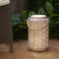 Beige Star LED Lantern with Rope Handle