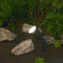 Ribbed Cast Aluminum Halogen Spotlight Black Finish