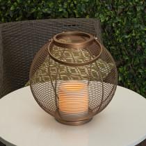 Dark Copper Round Metal LED Lantern