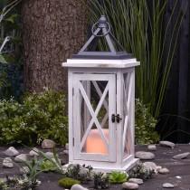 Wood LED Lantern with Flameless Candle