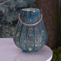 Turquoise LED Lantern with Rope Handle