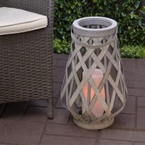 """Gray Basketweave LED Lantern 17"""""""