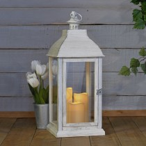 Antique White Lantern with Flameless Candle Trio