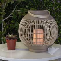 Round Basket LED Lantern Sand Color