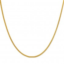 10K Yellow Gold 1.5mm Plain Hollow Franco Chain Necklace with Lobster Lock