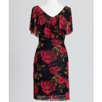 Caplet Floral Mesh Sheath Dress