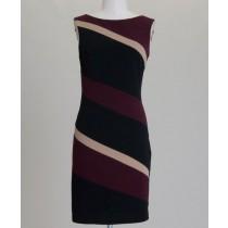 Asymmetrical Colorblock Sleevless Sheath Dress Burgundy