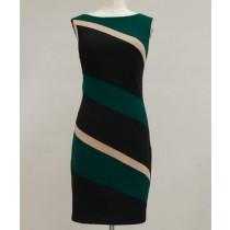 Asymmetrical Colorblock Sleevless Sheath Dress Emerald
