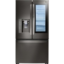 LG 23.5 Cu. Ft. French InstaView Door-in-Door Counter-Depth Smart Wi-Fi Enabled Refrigerator Black Stainless Steel (w/Kit)