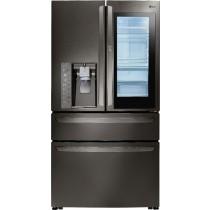 LG 29.7 Cu. Ft. 4-Door French InstaView Door-in-Door Smart Wi-Fi Enabled Refrigerator PrintProof Black Stainless Steel (w/Kit)