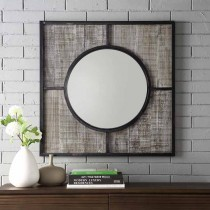 """32"""" Square metal and wood frame with circle mirror"""