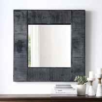 "32"" Square Textured Wood Mirror"