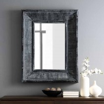 "36"" Rectangle Textured Wood Beveled Mirror"