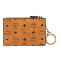 MCM Visetos Original Key Pouch Cognac