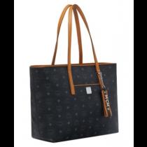 MCM Anya Medium Shopper Black/Cognac