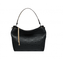 MCM Klara Lg Monogrammed Leather Hobo Black