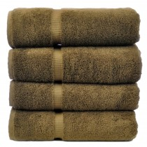 Bare Cotton Luxury Hotel & Spa Towel 100% Genuine Turkish Cotton Bath Towels - Cocoa - Dobby Border  - Set of 4