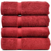 Bare Cotton Luxury Hotel & Spa Towel 100% Genuine Turkish Cotton Bath Towels - Cranberry - Dobby Border  - Set of 4
