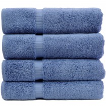 Bare Cotton Luxury Hotel & Spa Towel 100% Genuine Turkish Cotton Bath Towels - Wedgewood-Dobby Border-Set of 4