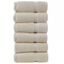 Bare Cotton Luxury Hotel & Spa Towel 100% Genuine Turkish Cotton Hand Towels - Beige - Dobby Border  - Set of 6