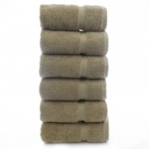 Bare Cotton Luxury Hotel & Spa Towel 100% Genuine Turkish Cotton Hand Towels - Drift Wood - Dobby Border  - Set of 6