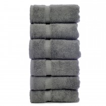 Bare Cotton Luxury Hotel & Spa Towel 100% Genuine Turkish Cotton Hand Towels - Gray - Dobby Border  - Set of 6