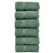 Bare Cotton Luxury Hotel & Spa Towel 100% Genuine Turkish Cotton Hand Towels - Moss - Dobby Border  - Set of 6