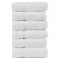 Bare Cotton Luxury Hotel & Spa Towel 100% Genuine Turkish Cotton Hand Towels - White - Dobby Border  - Set of 6