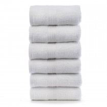Bare Cotton Eco Cotton Hand Towels - White - Dobby Border - Set of 6