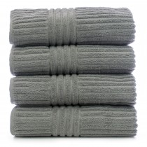 Bare Cotton Luxury Hotel & Spa Towel 100% Genuine Turkish Cotton Bath Towels - Gray - Stripe  - Set of 4