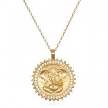 White Topaz Gold Ganesha Necklace 30'