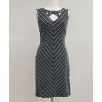 Sleeveless Metallic Knit Mitered V-Neck Sheath Dress