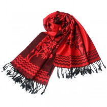 Blancho Bedding -Pa-616-2 Red Base Peony Flowers Patterns Exquisitely Soft Woven Pashmina/Shawl/Scarf