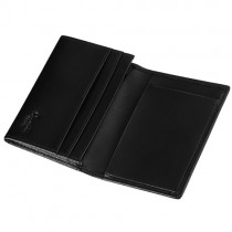 Caseti Noche Smooth Black Leather Card Holder