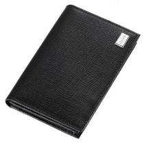 Caseti Lilah Black Leather Weave Pattern Business Card Holder
