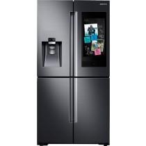 Samsung Family Hub 22 Cu. Ft. 4-Door Flex French Door Counter-Depth Refrigerator Fingerprint Resistant Black Stainless Steel (w/Kit)