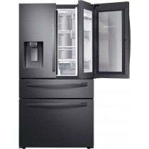 Samsung 22.4 cu. ft. 4-Door French Door Counter Depth Refrigerator with Food Showcase Black Stainless Steel (w/Kit)