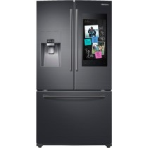 Samsung Family Hub 24.2 Cu. Ft. 3-Door French Door Refrigerator Fingerprint Resistant Black Stainless Steel (w/Kit)