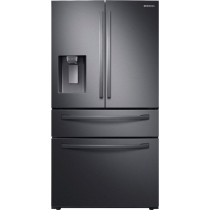 Samsung 28  cu. ft. 4-Door French Door Refrigerator with FlexZone Drawer Fingerprint Resistant Black Stainless Steel (w/Kit)