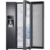 Samsung 21.5 Cu. Ft. Side-by-Side Counter-Depth Refrigerator with Food ShowCase and Thru-the-Door Ice Black Stainless Steel (w/Kit)