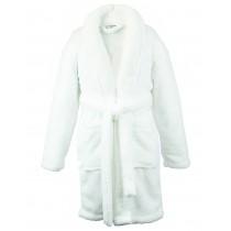 Bare Cotton Kids Microfiber Fleece Shawl Robe - Girls - White - Medium