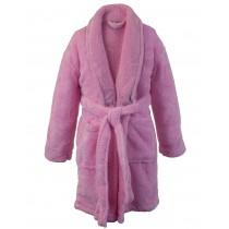 Kids Microfiber Fleece Shawl Robe - Girls - Pink - Small