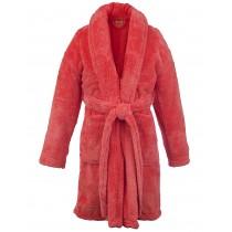 Kids Microfiber Fleece Shawl Robe - Girls - Coral - Small