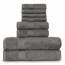 Luxury Hotel Collection 100% Cotton-Eco Gray - set of 8 - 2 Bath Towels, 2 Hand Towels and 4 Washcloths Towel Set - Dobby Border