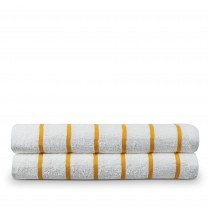 Luxury Hotel & Spa Towel 100% Pure Cotton Pool Beach Towels - Yellow - Striped - Set of 2