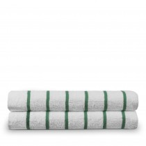 Luxury Hotel & Spa Towel 100% Pure Cotton Pool Beach Towels - Kely Green - Striped - Set of 2