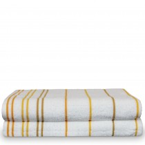 Luxury Hotel & Spa Towel 100% Pure Cotton Pool Beach Towels - Yellow Gold - Striped - Set of 2