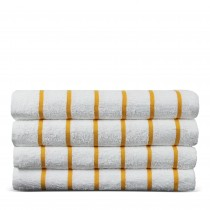 Luxury Hotel & Spa Towel Turkish Cotton Pool Beach Towels - Yellow - Striped - Set of 4